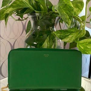 Celine Zip Around Green Leather Wallet